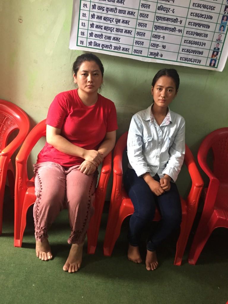 Anjana Thapa Magar with her sister at Tanahun magar sangh office