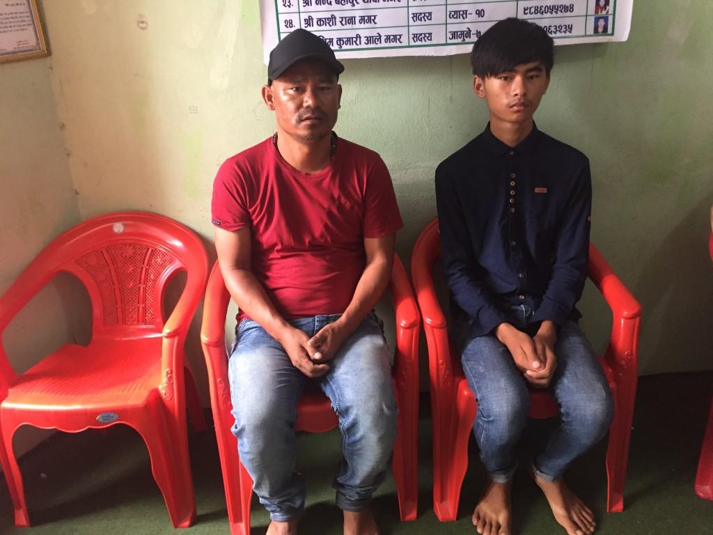 Bibek Thapa with Father at Tanahun Magar Sangh Office
